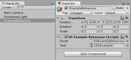 Using ScriptableObject for data objects in Unity scenes